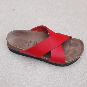 BIRKENSTOCK BETULA Red Criss Cross Cork  Sandal